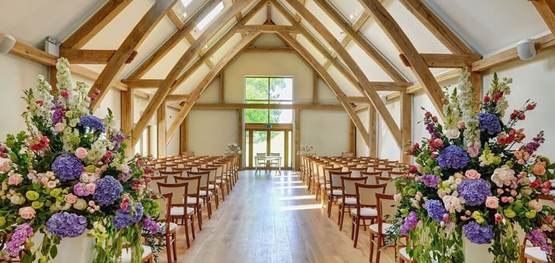 Wedding Ceremony Barn. Easton Grange luxury barn wedding venue
