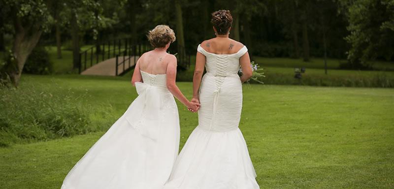 Same sex wedding at Easton Grange